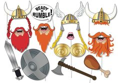 Viking Photo booth Props Party Set - 12 Piece PRINTABLE - Fun, wacky Photo Booth Props, Instant download pdf
