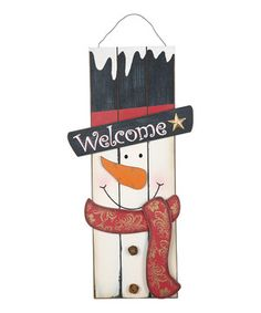 Complete the seasonal décor with the help of this sweet snowman sign. Ready to hang and featuring a festive design, it's the perfect piece to brighten any holiday home.