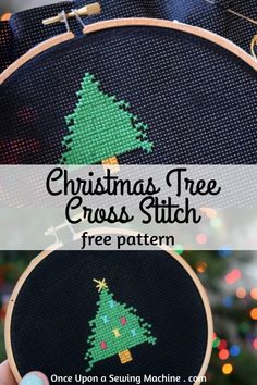 Free Pattern: Christmas Tree Cross Stitch Pattern - Once Upon a Sewing Machine Christmas Sewing Projects, Christmas Quilt Patterns, Diy Sewing Projects, Sewing Projects For Beginners, Beginner Quilt Patterns, Sewing Patterns Free, Free Sewing, Handmade Christmas, Christmas Crafts