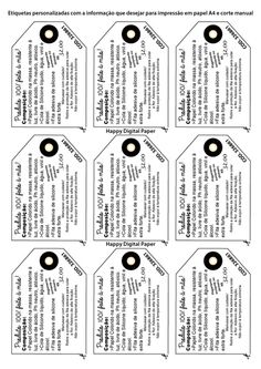 Etiquetas Digitais p/ Impressão A4 DIY