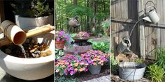 18 awesome DIY Outdoor Fountain Ideas from the expensive to the thrifty.