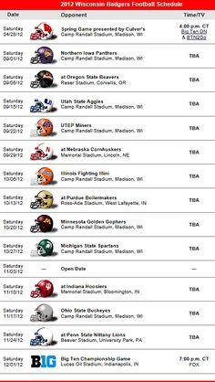 Wisconsin Badgers Football Team 2012 Schedule