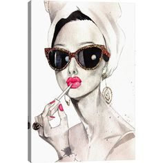 Found it at AllModern - Audrey Hepburn by Rongrong DeVoe Painting Print on Canvas