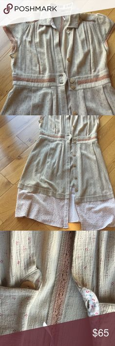Dress My favorite free people. Vintage summery dress.  Woden buttons. With lace detail. Free People Dresses