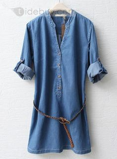 Celebrity Korean Style Long Sleeve Stand Collar Casual Dress $36