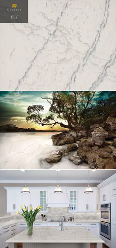 Ella™ is one of two stunning new designs in the Cambria quartz Marble Collection™.