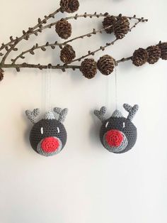 Hæklede julekugler med rensdyr motiv