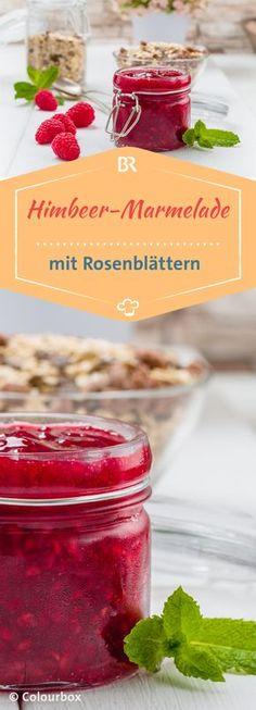 Sauere Himbeeren und süße Rosenblätter - eine köstliche Mischung! Auch perfekt als kleines Geschenk aus dem eigenen Garten geeignet. #beeren #marmelade #rezept #rosen