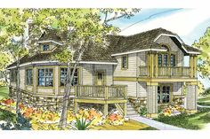 Elevation of Cape Cod Cottage Country European Victorian House Plan 59792 Cottage Floor Plans, Cottage House Plans, Country House Plans, Cottage Homes, Victorian House Plans, Craftsman Style House Plans, Victorian Homes, Beach Cottage Style, Beach Cottage Decor