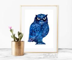 Owl Watercolor Print Owl Wall Nursery Art Bird Print Nursery Owl Artwork Owl Poster Bird Owl Print Nursery Owl Art  My prints are a high quality image on a thick, beautiful, textured paper (the base weight of the paper is 250 - 300g). The drawings are bright.  All prints in the shop printed by the originals of my works.  I care about your orders therefore all prints are packed in the thick corrugated cardboard and sealed in a postal plastic bag to the transporting. Such packaging allows the…