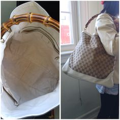 "GUCCI-GUCCI Monogram Diana Medium Bamboo Shoulder Bag Ivory,L: 14.5"", H: 12.5"",D:3.75"""