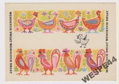 WESOLYCH SWIAT HANNA BALICKA FRIBES 6860 Old Postcards, Eggs, Polish, Easter, Traditional, Art, Wasp, Art Background, Vitreous Enamel