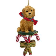 Goldendoodle Candy Cane Ornament