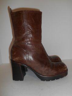 Vintage 90s Chunky Heel platform boots brown by ATELIERVINTAGESHOP, $75.00