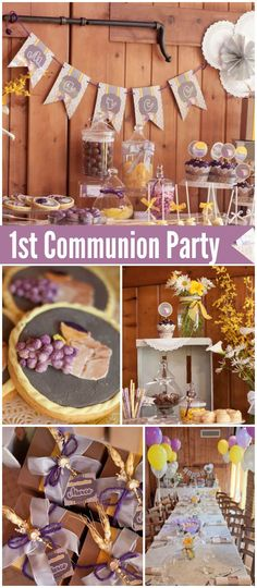 You must see this lovely rustic first communion party! See more party ideas at C … Boys First Communion, First Communion Cakes, Communion Gifts, First Communion Decorations, Baptism Party, Balloon Decorations Party, Girl Decor, Animal Party, Party Ideas