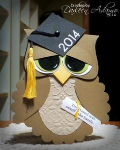 by darleenstamps - Cards and Paper Crafts at Splitcoaststampers Graduation Cards Handmade, Graduation Crafts, Graduation Theme, Punch Art Cards, Owl Card, Kids Cards, Baby Cards, Creative Cards, Homemade Cards