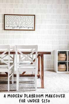 A DIY hand painted sponge wall and farmhouse & boho touches add up to a gorgeous and organized moder Sponge Painting Walls, Diy Wall Painting, Diy Wallpaper, Painting Wallpaper, Playroom Wallpaper, Hand Painted Wallpaper, Wall Design, House Design, Modern Playroom