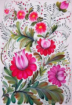Not Os painting, but inspiring colours and design One Stroke Painting, Tole Painting, Fabric Painting, Painting Tips, Watercolor Painting, Russian Folk Art, Ukrainian Art, Folk Art Flowers, Flower Art