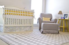 gray and yellow gliders | Oliver's Light & Bright Nursery