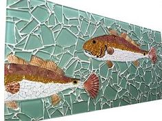 Redfish Glass Tile Mosaic (clear glass over paint? Mosaic Wall Art, Mosaic Glass, Mosaic Tiles, Glass Art, Sea Glass, Stained Glass, Fish Artwork, Seasonal Image, Mosaic Pictures