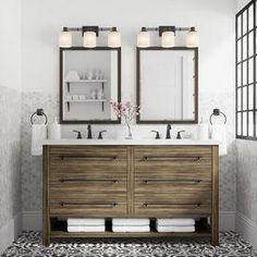 Shop allen + roth Kennilton Gray Oak Double Sink Vanity with Carrera White Engin… - Modern Rectangular Bathroom Mirror, Double Sink Bathroom, Bathroom Vanity Tops, Vanity Sink, Bathroom Styling, Bathroom Interior Design, White Bathroom, Modern Bathroom, Small Bathroom