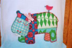 Hippo BIrdie Handstitched Applique on Aqua Dyed 100% Cotton Australian Onesie