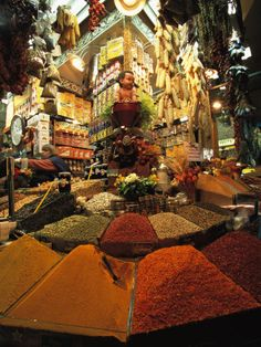 A Lively and Colorful Spice Market and Grocery Shop