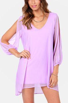 Light+Purple+Slit+Long+Sleeve+Chiffon+Dress+#Light+#Dress+#maykool