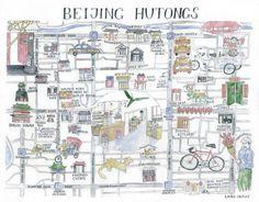 Beijing Hutongs Map by Liuba Draws