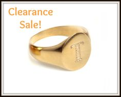 "CLEARANCE SALE Personalized monogram signet ring, Engraved Letter - ""T"", US Size 4.75, 14K Gold plated, GoldFilled seal Ring, Free shipping"