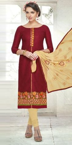 Colorful Maroon Cotton Straight Suit With Dupatta.