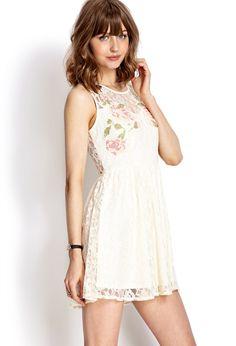 Sweet print lace cutout dress