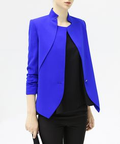Blue+long-sleeved+blazer+by+COCOBELLA+on+secretsales.com