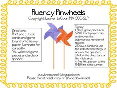 Fluency Pinwheels   - Pinned by @PediaStaff – Please Visit  ht.ly/63sNt for all our pediatric therapy pins