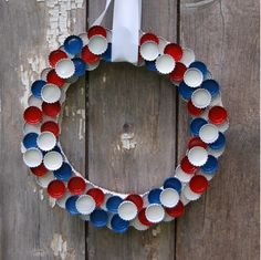 Fourth of July Bottle Cap wreath featured from Basics Magazine (bottle caps wreath) Fourth Of July, 4th Of July Wreath, Clear Casting Resin, Gifts For Photographers, Patriotic Decorations, Glue Crafts, Upcycled Crafts, Fun Crafts For Kids, Craft Sale