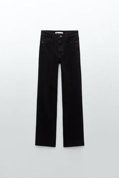 JEANS Z1975 STRAIGHT FULL LENGTH - Negro | ZARA España Grey Jeans, Wide Leg Jeans, High Jeans, Jeans Fit, High Waist Jeans, Ripped Jeans, Jean Parfait, Perfect Jeans, Maternity Jeans