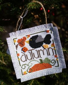Cross stitch autumn wall hanging/ornament by SarahUphotography, $6.25