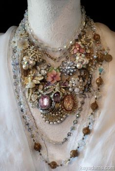Kay Adams uses old vintage pieces to make new jewellery at River rock antiques #jewelery