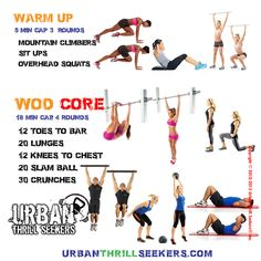 sit ups,mountain climbers,overhead squats,12 Toes to bar,20 lunges,12 Knees to…
