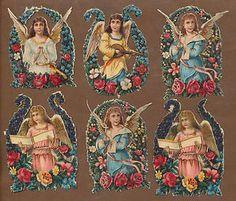 S10416-Victorian-Die-Cut-Scraps-6-Angels-in-Floral-Borders