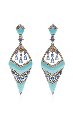 Blue Sapphire Inverted Dagger Earrings by Wendy Yue for Preorder on Moda Operandi
