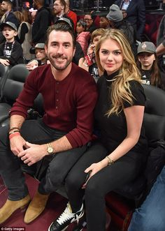 Love is in the air: Kate and her boyfriend Justin Verlander were pictured at the NBA All-Star Game in Toronto, Canada in February 2016