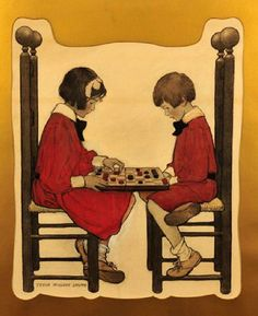 A Game Of Checkers-Jessie Willcox Smith (1863 – 1935, American)