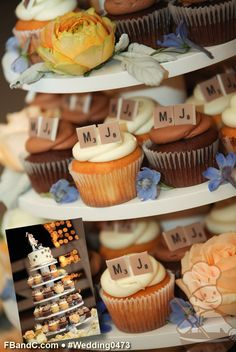 "Design W 0473 | 6"" Butter Cream Wedding Cake, Assorted Cupcakes, Fondant Scrabble Chips  