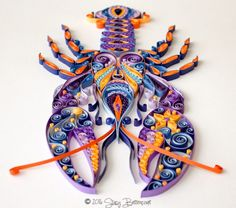 Quilled Stylistic Lobster - by: Mainely Quilling - Stacey Bittencourt