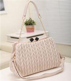 Korean Fashion Embroider Big Beige Clamp Bag