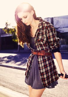 Belted shirt over dress