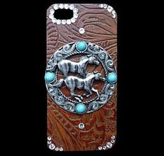 Western iPhone 5 Cell Phone Cover with Leather, Horses and Swarovski Crystals clickincowgirls.com