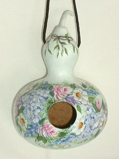 Flower Garden Gourd Birdhouse  Hand Painted by FromGramsHouse,