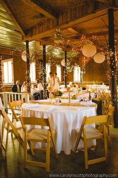 Barn Wedding Decor - Paper Lanterns - NC Wedding Planner - Carolyn Scott Photography - needs a little more color
